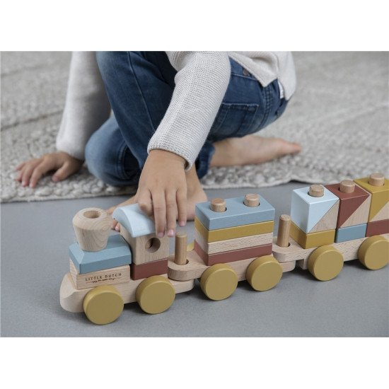 Tren Madera Bloques Apilables Nature Colores